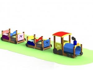"""Детский игровой комплекс КД 65 """"Паровозик с двумя вагонами"""""""