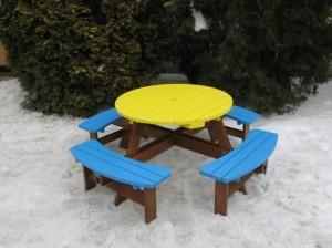Круглый столик со скамейками П08